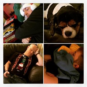 Christmas naps dog dad