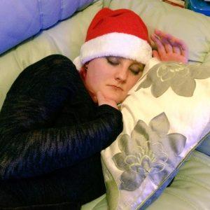 Christmas naps redhead Santa hat