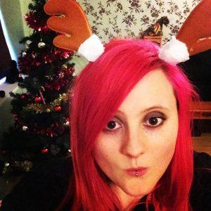 Christmas redhead reindeer antlers